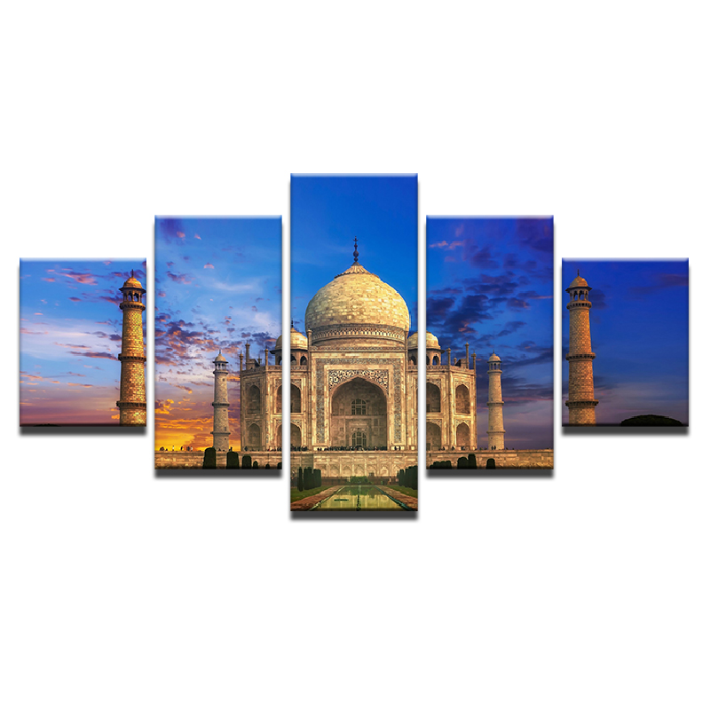 Canvas-Wall-Art-Picture-5-Panel-Taj-Mahal-Sky-Landscape-Pictures-For-Living-Room-Bedroom-Prints (2)