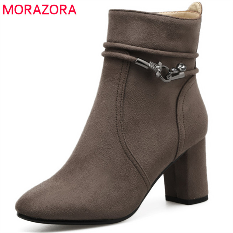 MORAZORA Square toe high heels boots female fashion shoes woman flock zip solid ankle boots party large size 34-41<br>