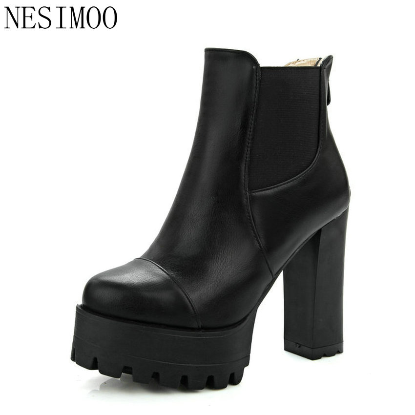 NESIMOO Size 34-43 Fashion Zipper 2017 Round Toe PU Leather Women Shoes Square High Heel Ankle Boot Women Motorcycle Boot<br>
