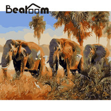Bearoom Painting By Numbers Drawing On Canvas Oil Modular Painting Coloring African Elephants Wall Art Decor Pictures No Frame(China)