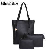 NIBESSER Sweet Women Bucket Bags 3 Pieces Casual Tote Tassel Deco Women Shoulder Bags Handbag Set PU Leather Composite Bag(China)