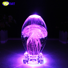 FUMAT Colorful LED Night Light Novel Crystal Crafts Small Night Lamp Decor USB Touch Wedding Birthday Gifts Luminous Jellyfish
