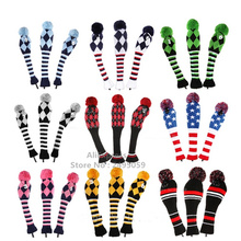 Free shipping new golf club head covers,1 3 5 one Set NEW Pom Pom Head Covers Knit Sock Navy blue Golf Club Cover Headcovers