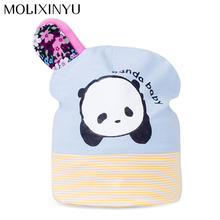 MOLIXINYU Cute Baby Knitted Warm Cotton Hat For Baby Kids Girl Cap Panda Print Pattern Baby Hat Children Cute Autumn Winter Cap