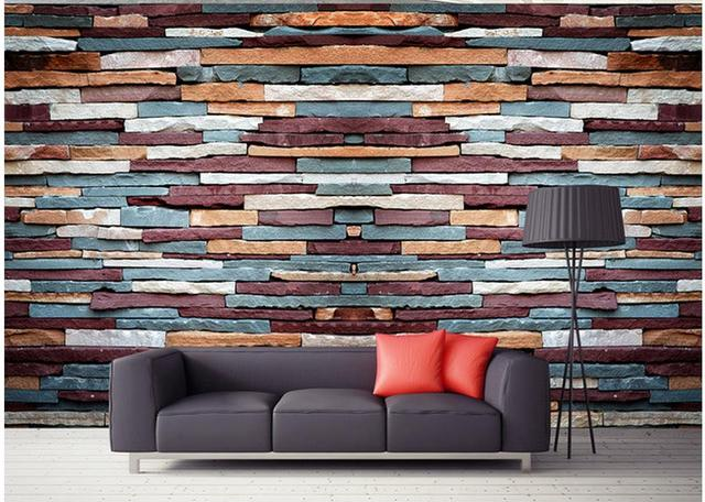 Wallpaper For Room Camouflage Stone Brick Wall Background Mural Decorative