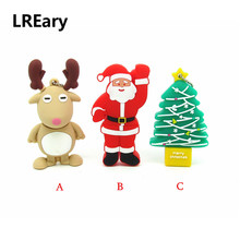 Cartoon lovely Santa Claus/Trees/ wapiti usb flash drive disk Christmas gift memory stick pendrive Pen drive 4gb 8gb 16gb 32gb(China)