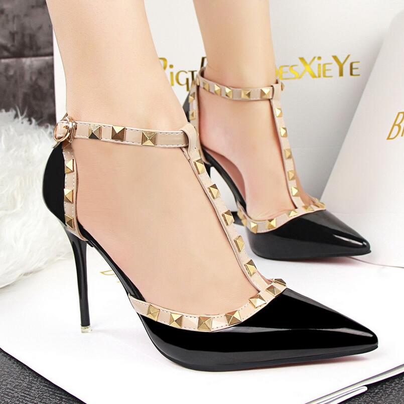 {D&amp;H}Brand Women Pumps Ankle Strap Rivets Womens High Heels T-Strap Ladies Shoes Woman Red Christmas Present sapato feminino<br><br>Aliexpress