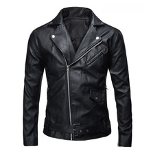 New Men's Fashion Jackets Collar Slim Motorcycle Leather Jacket Coat Outwear Hot Streetwear Faux Leather Tops Plus Size XXXL(China)