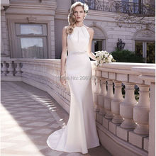 2017 New Arrival Sexy White Wedding Dresses Halter Sleeveless Off The Shoulder Button Fashion Mermaid Elegant Bridal Dress Gown
