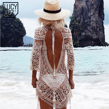 2017 Bikini Cover up Beach Tunic Sarongs Swimwear Women Covers Up Sexy Backless Bathing Suit Swimsuit Beach Wear robe de plage(China)