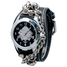 Bullet Punk Leather Band Strap Chain Cuff Wrist Watch Gift Quartz Cool Modern Accessories Skull Men Analog