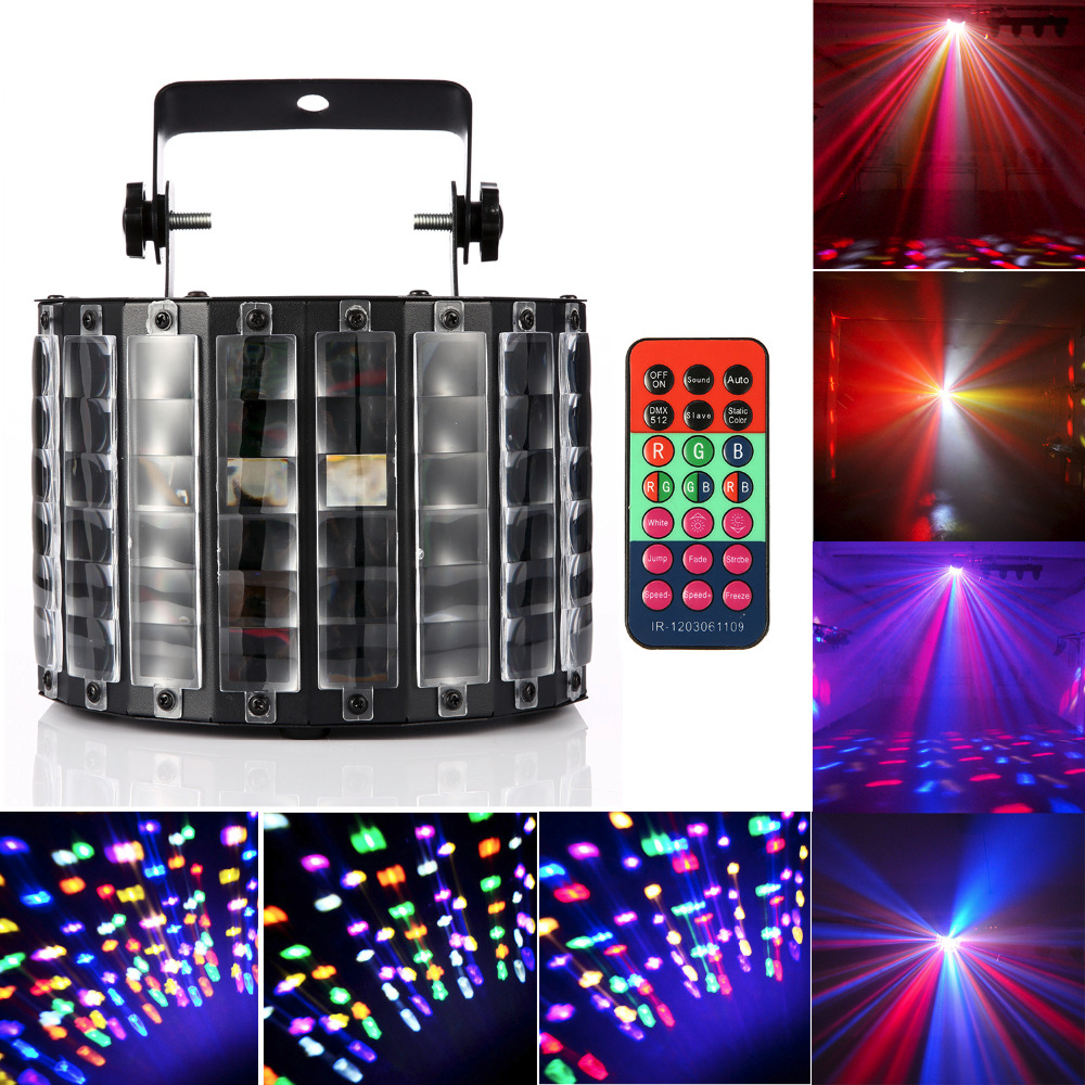 High Quality 30W 9Leds Butterfly Stage Light DMX512 RGBW Indoor LED Stage Lights with Remote Control Disco Party DJ Projector<br>