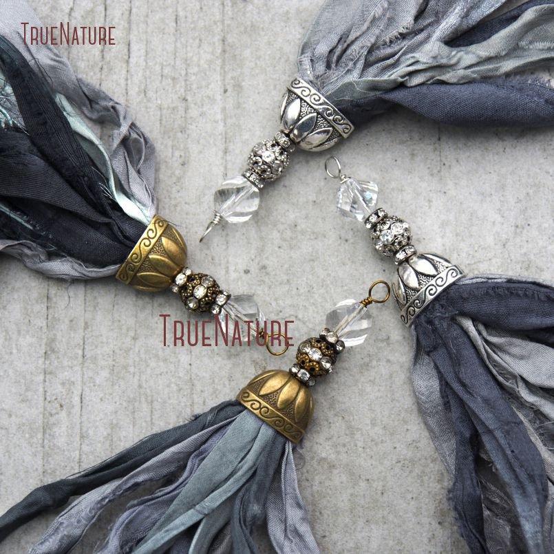 20180303-PM10556- Gray Shades Sari Silk Tassel Pendant_5