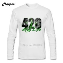 New Arrival Men Long Sleeve Tee Shirt 420 High Life T-shirt Men's 420 High Life T Shirt Autumn Tops