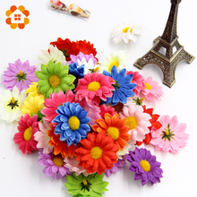 50pcs Small Silk Sunflower Handmake Artificial Flower Heads Wedding Decoration DIY Wreath Gift Box Scrapbooking Fake Flower(China)