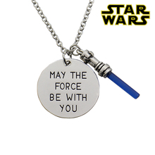 2016 Star Wars7 May the force be with you Hand Stamped Necklace,the Force Awaken Sword of Light Lightsaber Pendant Movie Jewelry