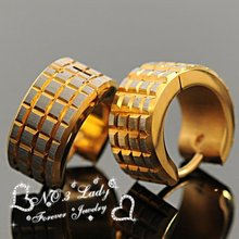 GOKADIMA brincos 2015, Little Squares 316l Stainless Steel Men Gold Earrings Stud, WE010