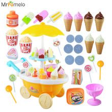 MrPomelo Mini Shop Ice Cream Candy Cart Children Pretend Play Toy Food Play Set with Lights & Sounds Educational Toys for Girls