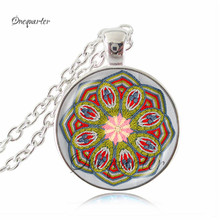 Orange red mandala flower necklace om yoga jewelry glass dome chakra choker spiritual art pendant necklace indian jewelry gifts