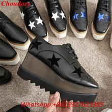 Choudory Lace Up Causual Shoes Women Star Shape Platform Shoes Fashion Square Toe Thick Brogue Vintage Flat Heels Casual Shoes