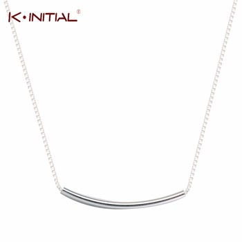 1Pcs 925 Sterling Silver Chic Curved Bar Pendant Chain Necklaces Square Necklaces for Men/Women Statement Jewelry Lover