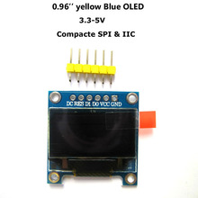 "0.96"" Yellow Blue 0.96 inch OLED module 12864 128x64 Dots Graphic LCD Display Module For Arduino SPI IIC 3.3-5V(China)"