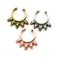 2015 New hot skull fake piercing nose ring septum ring clip on body jewelry for women BH0019