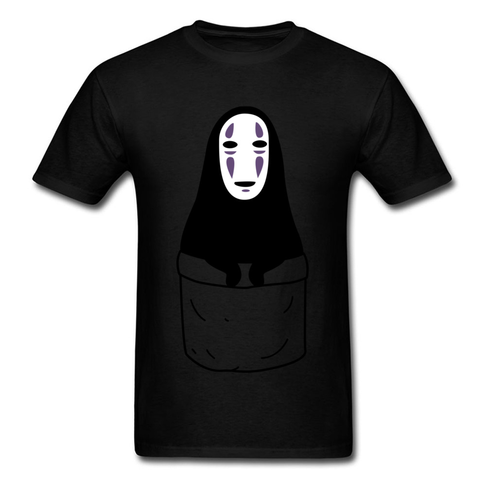 Mens Tops Shirts Kaonashi in a pocket Newest Printed On T-shirts 100% Cotton Short Sleeve Funny Sweatshirts Round Neck Kaonashi in a pocket black