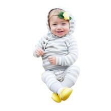 2017 autumn  Kids Baby Girl Boy Outfits Clothes Hooded Stripe T-shirt Tops+Pants Set drop shopping #es