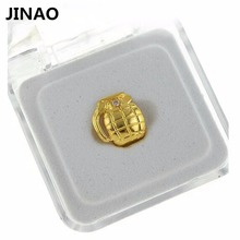 JINAO New Custom Fit Gold Color Plated Hip Hop Single Grenade Tooth Grillz Cap Top & Bottom Grill gold teeth caps