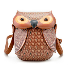 2017 Summer Small Women PU Leather Handbag Cartoon Bag 3D Owl Printing Animals Shoulder Bags Girls Messenger Bag Braccialini(China)