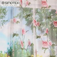 ISINOTEX Window Curtain Pink Flower Printed Burnout For Home Living Room Screening Transparent Sheer Voile Fabric 1PCS/Lot(China)