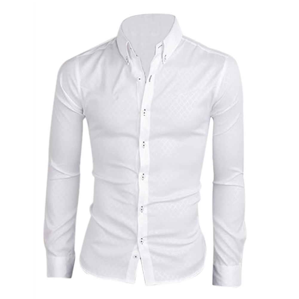 2019 2017 New New Men Shirt Casual Slim Fit Mens Dress Shirts White