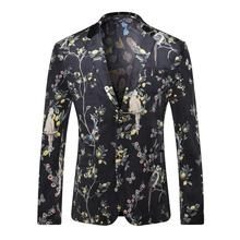2017 Black Floral Blazer Men Casual Slim Luxury Print Blazers Suite Jacket Party Stage Clothes for Singers Cheap Suite for Men