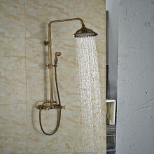 "New Arrival Antique Brass 8"" Bath Shower Mixer Tap Wall Mount Bathroom Shower Set Faucet w/ Hand Sprayer Dual Handles"