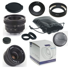 GOOD 25mm f/1.4 mirroless for APS-C Camera Nikon 1 Samsung NX+C-Nikon1 adapter+lens hood+Macro Ring*2+for Nikon 1 lens rear cap