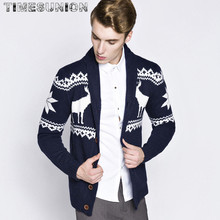 Christmas sweater Winter new pullover Snowflake pattern Men 's leisure cardigan Fashion collar Male Thickening Wool jacket(China)