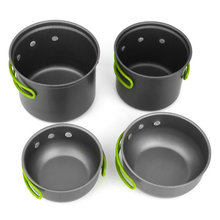 4pcs Non-stick Pots Pans Bowls Portable Outdoor Camping Hiking Cooking Set Cookware new arrival