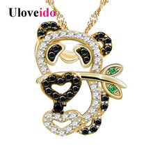 Uloveido Black Animal Necklaces & Pendants Gold Color Cute Panda Necklace Female Suspension Chain Pendant Jewelry 5% Off Y315