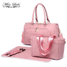 Miss Lulu 3pcs Baby Nappy Diaper Changing Bag Set PU Leather Shoulder Handbag Stroller Bags Pink Maternity Mummy Tote LT6638(China)