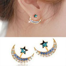 Brand Retro Exquisite Women Acrylic Flower Crystal Gem Cubic Zircon Moon Star Stud Earrings For Women Accessories E195(China)