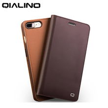 "Wobiloo Business Flip Case For Apple iPhone7 7plus 4.7/5.5"" Brown Case Genuine Leather Wallet Cases Cover For iPhone 7 Bag(China)"