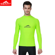 SBART Men Long Sleeved Rashguard Shirt Surf Anti-UV Protection Sunscreen Beach Rash Guards Diving snorkeling Swimsuit UPF 50+