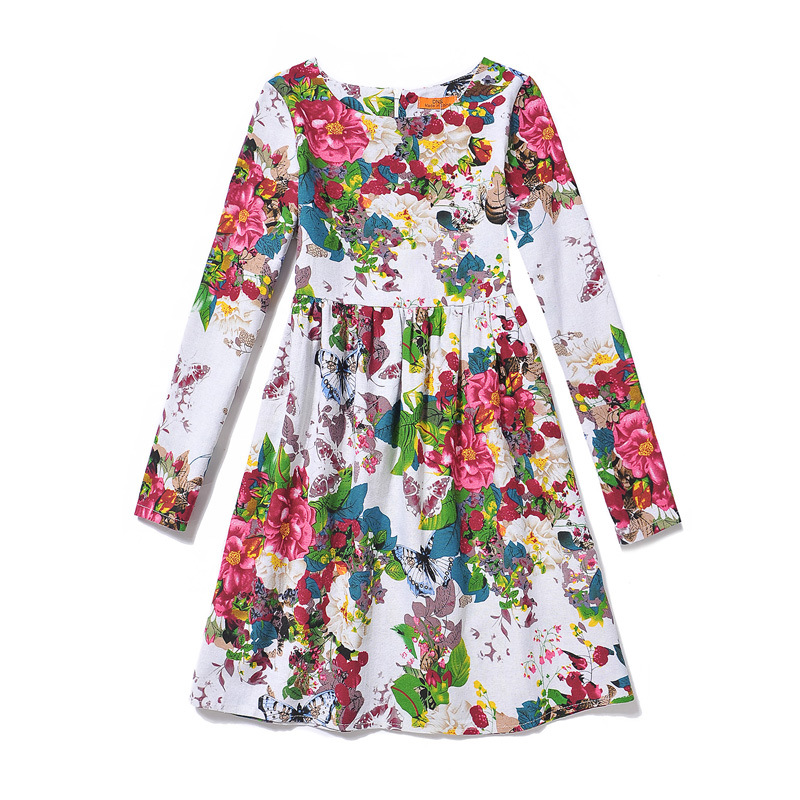 Kids Girls Flower Dress 2016 New Fashion Butterfly Print Dresses Long Sleeve European American Style Teenage Clothing GD98H<br><br>Aliexpress