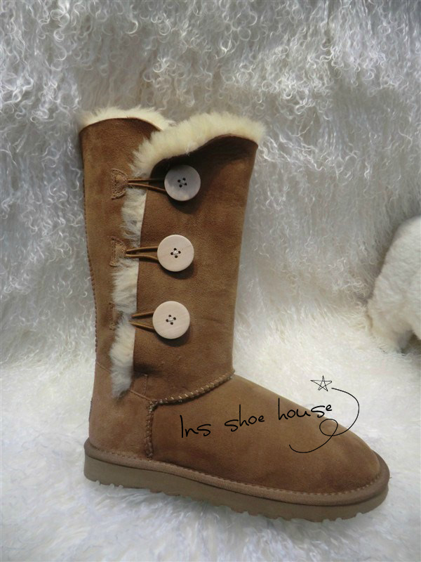 Top quality high boots big size sheepskin real wool 100% genuine flat Australia  sewing comfortable snow boots<br><br>Aliexpress