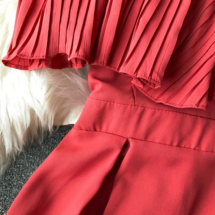 2019 Spring Women Chiffon Pleated Braces Sling Spaghetti Strap Goffer Long Dress Ladies Ruffles Empire Drapped Swing Slip Dress 164