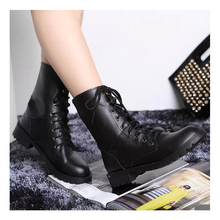 Fashion Women Boots Black Shoes Classic Square Heel PU Lace-Up Martin Motorcycle Boots For Women Winter Boots