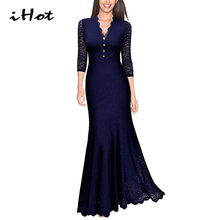 IHOT Elegant Women Sexy 3/4 Sleeve Deep V Lace Patchwork Blue Long gowns Maxi Mermaid ladies dinner Evening Party dress vestidos