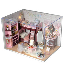 Miniature DIY Doll House Wodden Miniatura Dust cover DollHouses Furniture Kit Adornment Handmade Toys For Children girl gift TW5