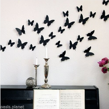 Wonderful Black Red White 12 Pcs Art Design Decal Wall Sticker Home Decor Room Decorations 3D Butterfly Wall Decor